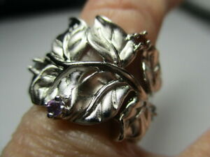 STERLING SILVER ROSS SIMONS ROUND BLUE TOPAZ AMETHYST LEAVES BAND RING SIZE 5