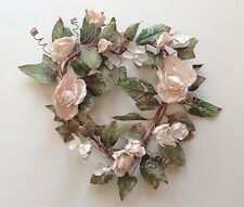 Ivory Dried Flowers Parchment Heart Wreath Wall Craft Frame Home Office Decor