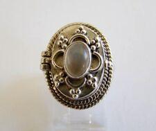 Sterling Silver Genuine Moonstone Box Ring Unique 925