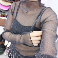 Women's Long Sleeve Sheer Mesh Crop Tops Summer Party See Through Blouse T-Shirt