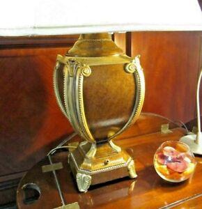 Vintage looking Bronze/Metallic Brown Urn Lamp Base with Mottled Panels