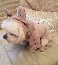 Bunny Embroidered Fleece Dog Onesie -Chihuahua Yorkie Maltese 12 inch Length