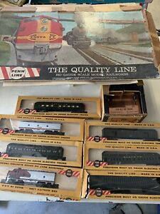 Vintage Penn Line Ho Gauge Scale Model Railroad Cars Dual Controller Track& Box