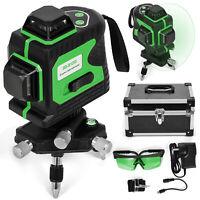 AU 80X 360° 3D Green 12 Line Laser Level Self Leveling Outdoor Cross Measure
