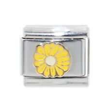 Yellow Daisy flower enamel Italian Charm - fits 9mm classic Italian charms