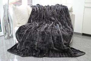 Grey Micro Faux Fur Double Fleece Blanket Luxury Warm Home Sofa Bed Throw