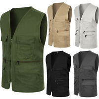 Mens Multi Pockets Travelers Fishing Photography Director Casual Waistcoat Vest