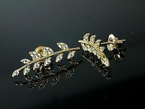 585 Gold Blätter Ohrstecker 6 mm x 20 mm Grösse 1 Paar mit Zirkonia Steinen