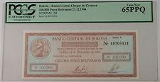 1984 Bolivia Banco Central 100000 Pesos Bolivianos SCWPM 188 PCGS 65 PPQ Gem New