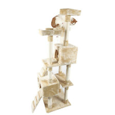 """66"""" Cat Tree Tower Play House Condo Furniture Toy Ball Pet Supply Sisal Beige"""