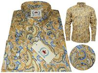 Relco Men's Yellow Paisley Long Sleeved Button Down Mod Vtg 60's Shirt