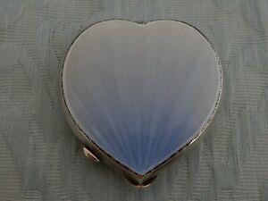 "Heart Shape Silver & Shaded Guilloche Enamel Compact, 1950 ""W I Broadway & Co"""