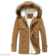 Mens Stylish Parka Parker Padded Lined Winter Jacket Faux Fur Hooded Coat
