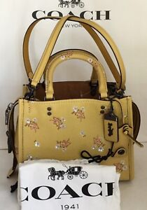 COACH 29216 1941 Rogue Bag 25 Floral Sequin Bow Print BP/Sunflower Yellow NWT