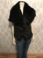 Verona Women's VIVANA Oversized Point Collar Faux Fur Vest Sz Small Black New