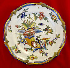 Superbe assiette plate décor à la Corne d'Abondance signée St - Clément .