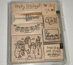 STAMPIN' UP! ~ FLAKY FRIENDS ~ (8) Wood Rubber Stamps Set