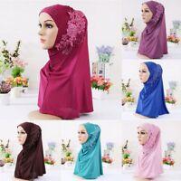 Lace Flower Rhinestone Islamic Hijab Muslim Scarf Turban Headscarf Shawl Cap 1pc