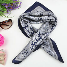 Small Square Silk Satin Scarf Navy Theme Paisley Pattern XFJ206