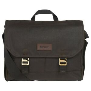 Barbour Essential Wax Cotton Messenger Bag Olive Green Unisex Waterproof