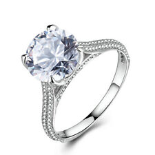 Wedding Sterling Silver 4.3CT Round White Topaz Natural Diamonds Luxurious Ring
