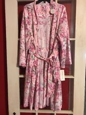 Miss Elaine Pink Floral Attatched Tie Robe Women's Size Large Elastic Waist
