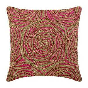 """22""""x22"""" Decorative Silk Pillow Cover Pink, Roses Art Deco Beaded - Pink Orchid"""