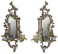 """2 Maitland Smith Baroque Rococo Mirrored Wall Sconces Ornate Candle Holders 40"""""""