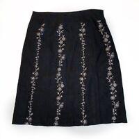 Ann Taylor Loft Women's Skirt A-Line Black Zip Embroidered Linen Flowers Size 6