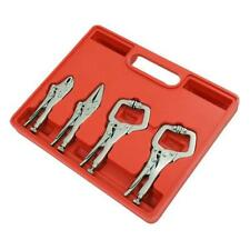 4 Piece Mini Locking / Mole Grip Wrench Set - C Clamp Needle Nose Curved Pliers