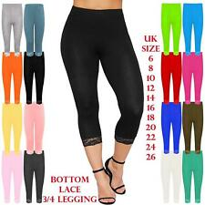 Womens Active Capri Length Pants Ladies Bottom Lace 3/4 Length Cropped Leggings