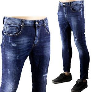 Pantaloni Uomo Slim Elastici Jeans Strappi Gambe Toppe Cucite Chiuso Blu Scuro