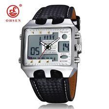 Casual OHSEN Digital LED Alarm Dial Silver Leather Mens Wrist Watch NIB Gift Box