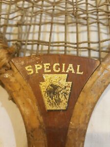 Special Convex Throat Vintage Wood Tennis Racquet hunting dog decal antique