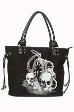 Banned Apparel Back in Black Roses Clock Skull Gothic Punk Tote Bag BG7108BLK