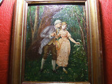 Small antique oil painting of a couple in the woods to identify