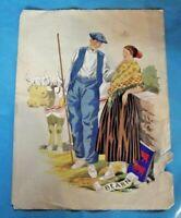 Gravure Ancienne Mode couple de fermier du Bearn , avec signature imprimé
