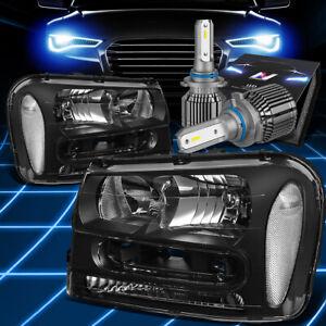 Fit 2002-2009 Chevy Trailblazer Headlight Lamps W/LED Hid Kit+Cooling Fan Black