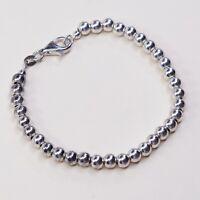 """6.75"""", 5mm, Vtg Sterling 925 Silver Handmade Ball Bead Bracelet, Stamped 925"""