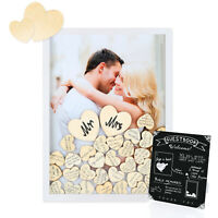 Wedding Guest Book Alternative with 100 Wooden Hearts and Sign  A Heart