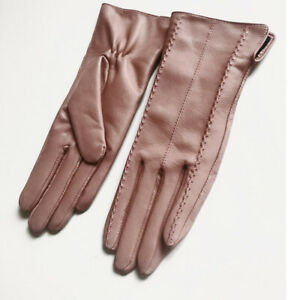 Real Leather fashion touchscreen wrist long Tech show women simple  gloves