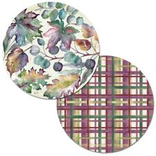 Autumn Jewels Fall Leaves Reversible Plastic Round Placemat Set ~ Set/4