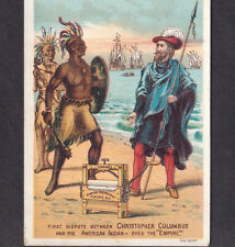 Indian vs Christopher Columbus Neyhart Williamsport PA Empire Wringer Trade Card
