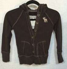 ABERCROMBIE & FITCH SOFT KNIT BUTTON FRONT PULLOVER HOODIE size Juniors S