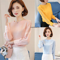 Fashion Women Long Sleeve Chiffon Shirts Plus Size Casual Slim Lace Blouses Tops