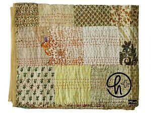 New Silk Biege Kantha Quilt Patola Patchwork Bedsheet Bohemian Gudari Twin/ King