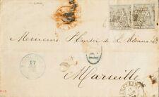España. I República. Sobre 134(2). 1874. 20 cts negro, dos sellos. BARCELONA a