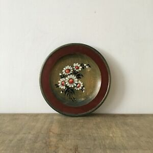 Vintage Wooden Ornate Decorative Wall Hanging Plate Floral Painting 1988