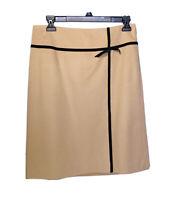 Ann Taylor Wool Skirt Small Size 4 Womens Knee Length Career Tan