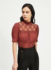 Miss Selfridge - Brown Short Sleeve Victoriana Top Uk 4